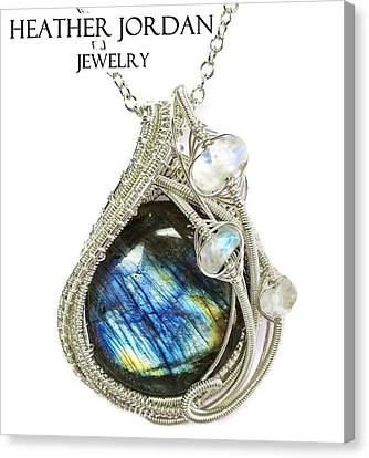 Labradorite And Sterling Silver Wire-wrapped Pendant With Rainbow Moonstone Labpss2 Canvas Print by Heather Jordan