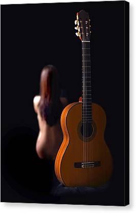 Lady And Guitar Canvas Print by Dario Infini