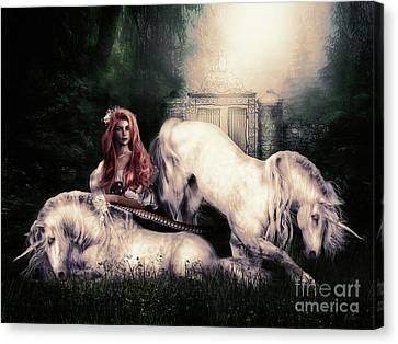 Lady And The Unicorns Canvas Print by Shanina Conway