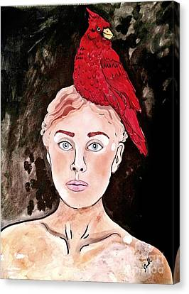Lady Cardinal Canvas Print by Amy Sorrell