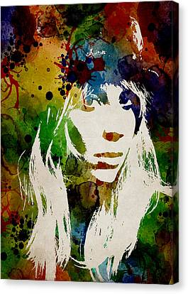 Lady Gaga Watercolor Canvas Print by Mihaela Pater