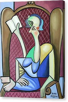 Lady In A Winged Back Chair Canvas Print by Anthony Falbo