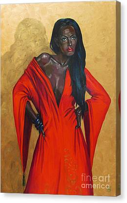 Lady In Red Canvas Print by Kateryna Bortsova