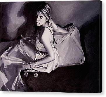 Lady Justice  Black And White Canvas Print by Laura Pierre-Louis