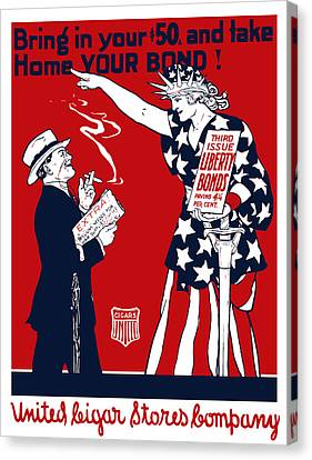Lady Liberty War Bonds - Ww1 Canvas Print by War Is Hell Store