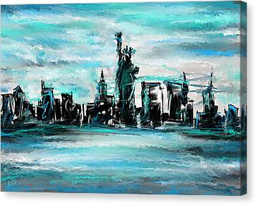 Lady Of Liberty Turquoise Canvas Print by Lourry Legarde