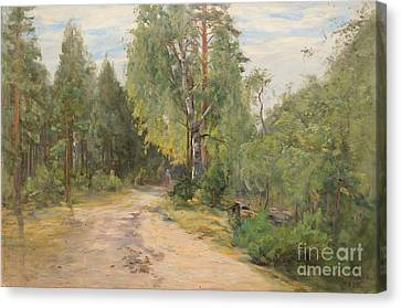 Lady On A Forest Path Canvas Print by Celestial Images