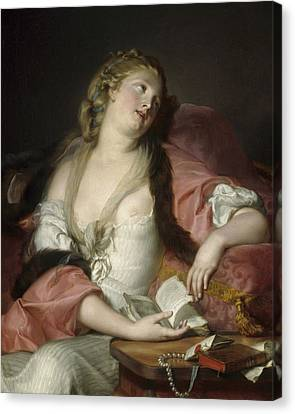 Lady Reading The Letters Of Heloise And Abelard Canvas Print by Bernard dAgescy