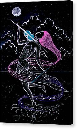 lady Under The Silver Moon Canvas Print by Dwayne  Hamilton