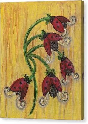 Ladybug Flowers Canvas Print by Kristen Fagan