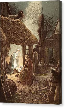 Laid In A Manger Canvas Print by Victor Paul Mohn