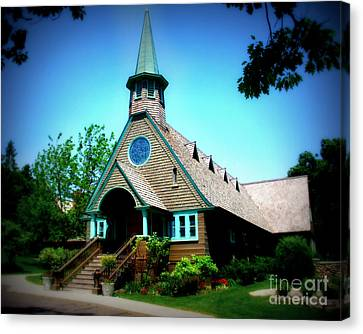 Lake Church Canvas Print by Perry Webster