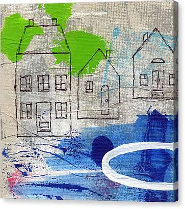Lake Houses Canvas Print by Linda Woods