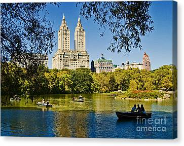 Lake In Central Park Canvas Print by Allan Einhorn