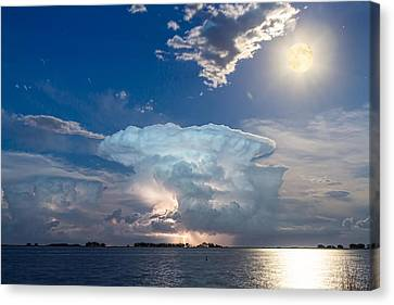 Lake Lightning Thunderstorm Cell And Moon Canvas Print by James BO  Insogna