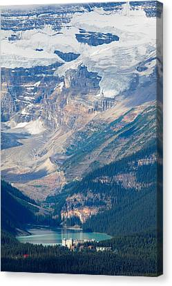 Lake Louise With The Victoria Glacier Canvas Print by George Oze