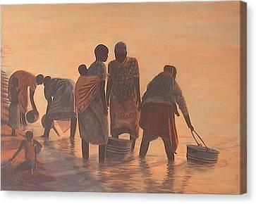 Lake Malawi Women At Sunrise Canvas Print by Nisty Wizy