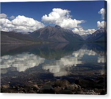 Lake Mcdonald Reflection Glacier National Park Canvas Print by Marty Koch