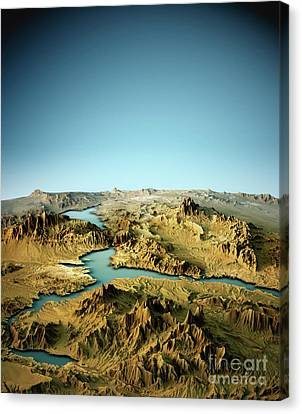 Lake Mead 3d View East-west Natural Color Canvas Print by Frank Ramspott