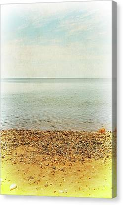 Lake Michigan With Stony Shore Canvas Print by Michelle Calkins