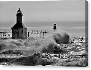 Lake Michigan's Fury Canvas Print by S Michael Basly