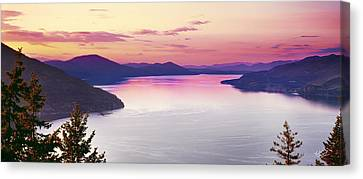 Lake Pend Oreille Panoramic Canvas Print by Leland D Howard