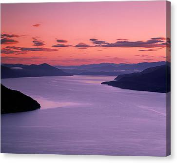 Lake Pend Oreille Sunset Canvas Print by Leland D Howard