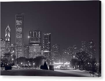 Lake Shore Drive Chicago B And W Canvas Print by Steve Gadomski