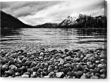 Lake Wenatchee Rocks Black And White Canvas Print by Pelo Blanco Photo