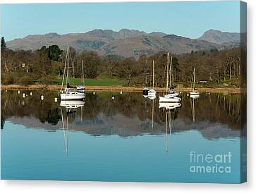 Lake Windermere Yachts Canvas Print by John D Hare