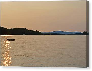 Lake Winnipesaukee Row Boat Sunset Canvas Print by Toby McGuire