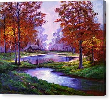 Lakeside Cabin Canvas Print by David Lloyd Glover