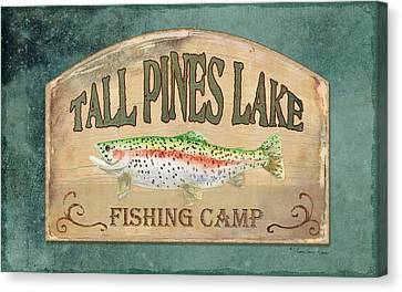 Lakeside Lodge - Fishing Camp Canvas Print by Audrey Jeanne Roberts