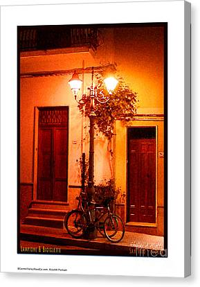 Lampione And Biciclette Print Canvas Print by Shelley A Aliotti