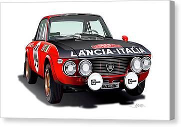 Lancia Fulvia Hf Illustration Canvas Print by Alain Jamar