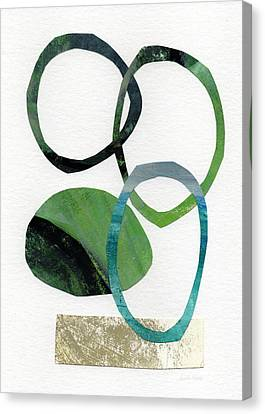 Land And Sea- Abstract Art Canvas Print by Linda Woods