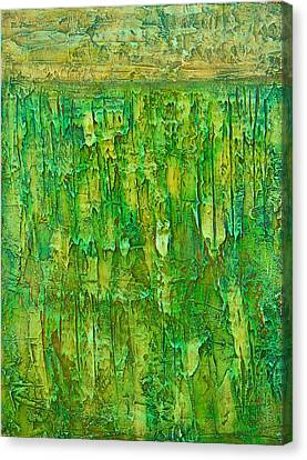 Land In Green Canvas Print by Habib Ayat