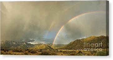 Land Of Enchantment - Rainbow Over Sandia Mountains Canvas Print by Matt Tilghman
