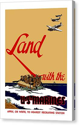 Land With The Us Marines Canvas Print by War Is Hell Store