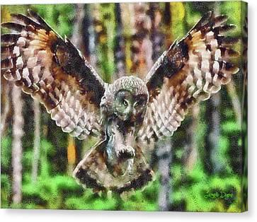 Landing Owl Canvas Print by Leonardo Digenio