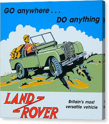 Landrover Advert - Go Anywhere.....do Anything Canvas Print by Georgia Fowler