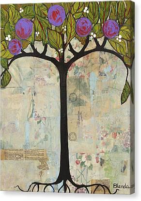 Landscape Art Tree Painting Past Visions Canvas Print by Blenda Studio