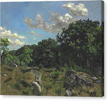 Landscape At Chailly Canvas Print by Jean Frederic Bazille
