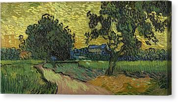 Landscape At Twilight Canvas Print by Vincent van Gogh