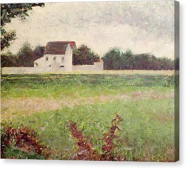 Landscape In The Ile De France Canvas Print by Georges Pierre Seurat