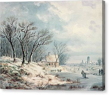Landscape In Winter Canvas Print by JJ Verreyt