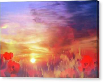 Landscape Of Dreaming Poppies Canvas Print by Valerie Anne Kelly