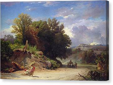 Landscape On The Outskirts Of Rome Canvas Print by Jean Achille Benouville