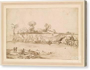 Landscape River With Bathers Canvas Print by Giovanni Francesco Barbieri