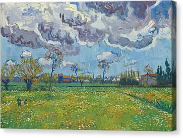 Landscape Under A Turbulent Sky Canvas Print by Vincent van Gogh